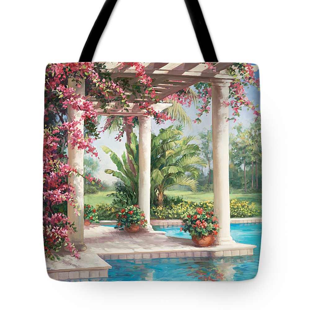 Floral Tote Bag featuring the painting Poolside Garden by Laurie Snow Hein