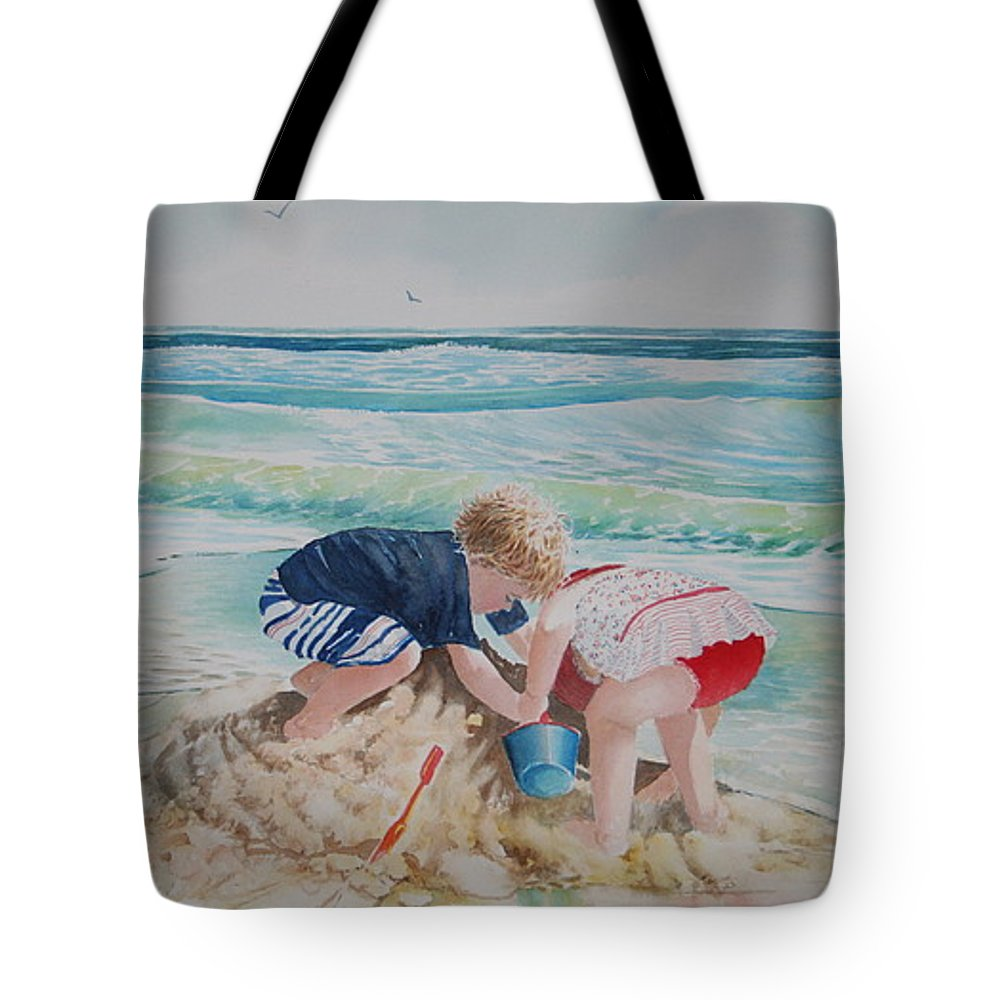 Beach Tote Bag featuring the painting Saving The Sand Castle From The Tide by Tom Harris