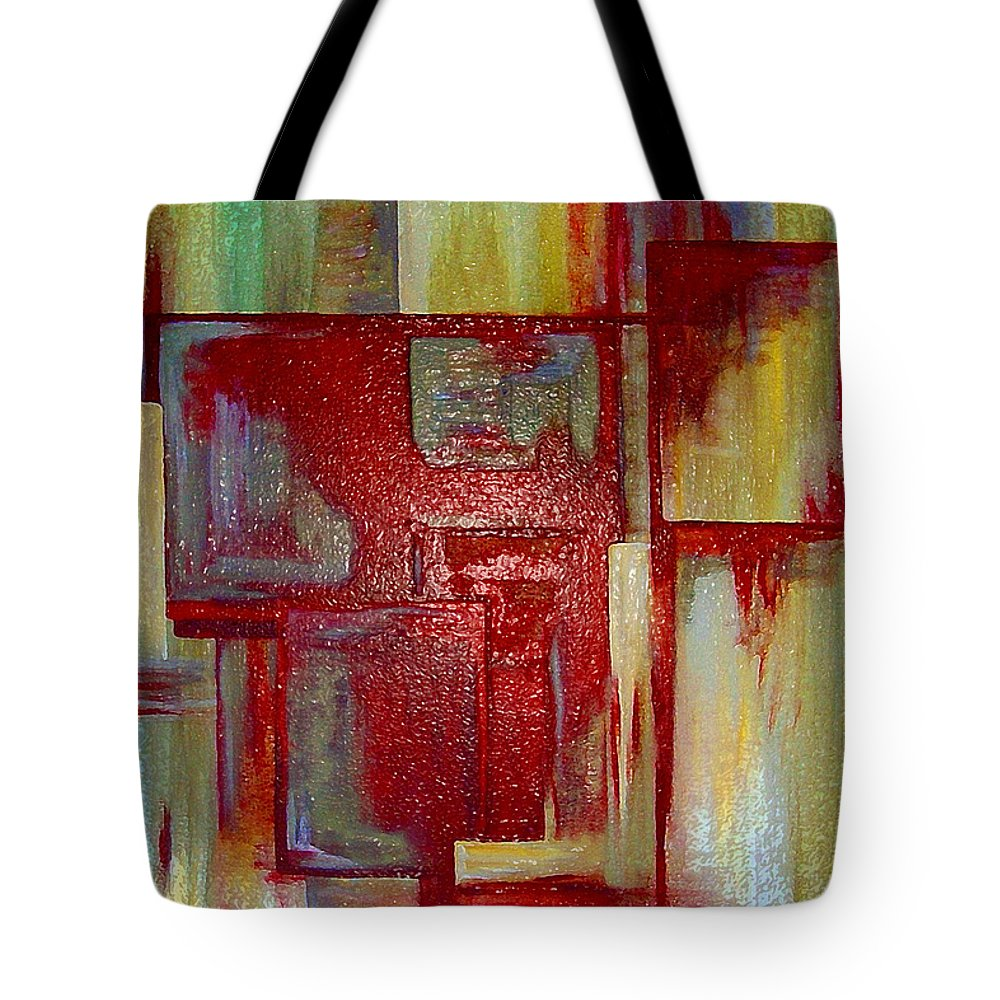 Abstract Tote Bag featuring the digital art Sections Revisited by Ruth Palmer