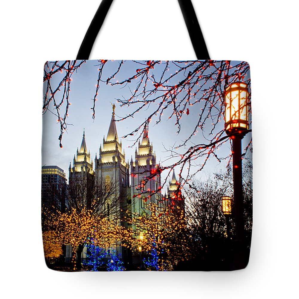 Temple Tote Bag featuring the photograph Slc Temple Lights Lamp by La Rae Roberts