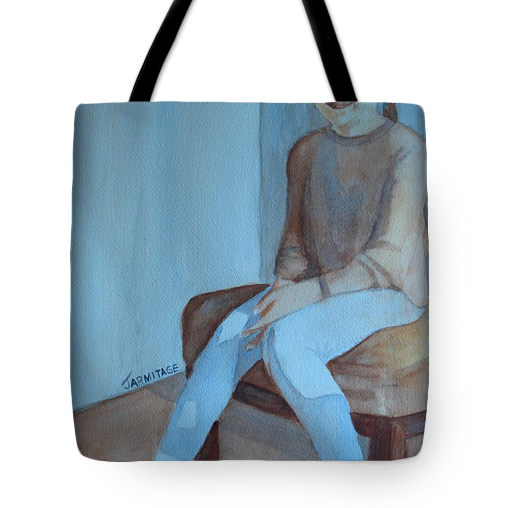 Girl Tote Bag featuring the painting Sneakers II by Jenny Armitage