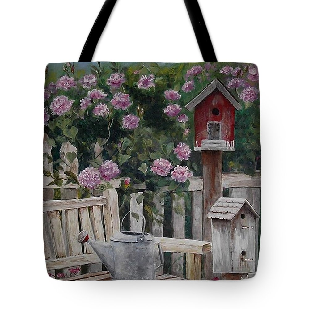 Charity Tote Bag featuring the painting Take A Seat by Mary-Lee Sanders