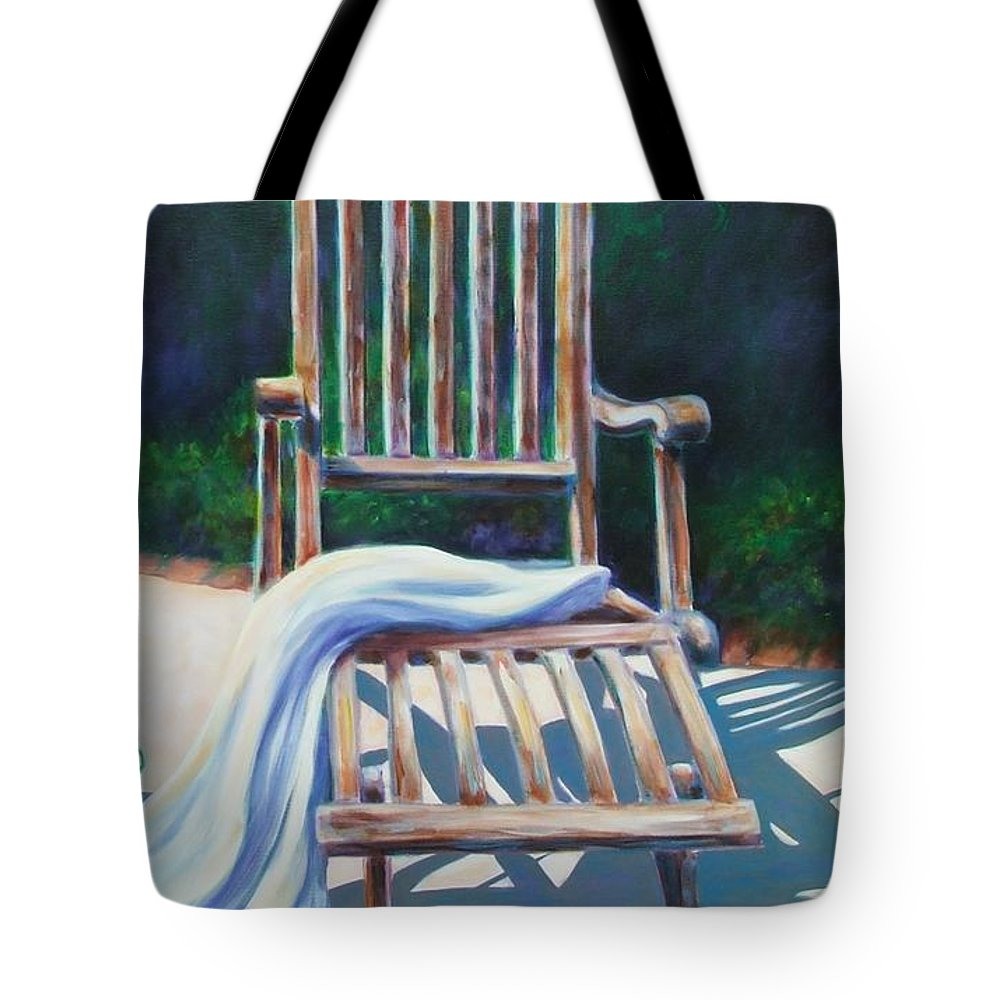 Deck Tote Bag featuring the painting The Chair by Shannon Grissom