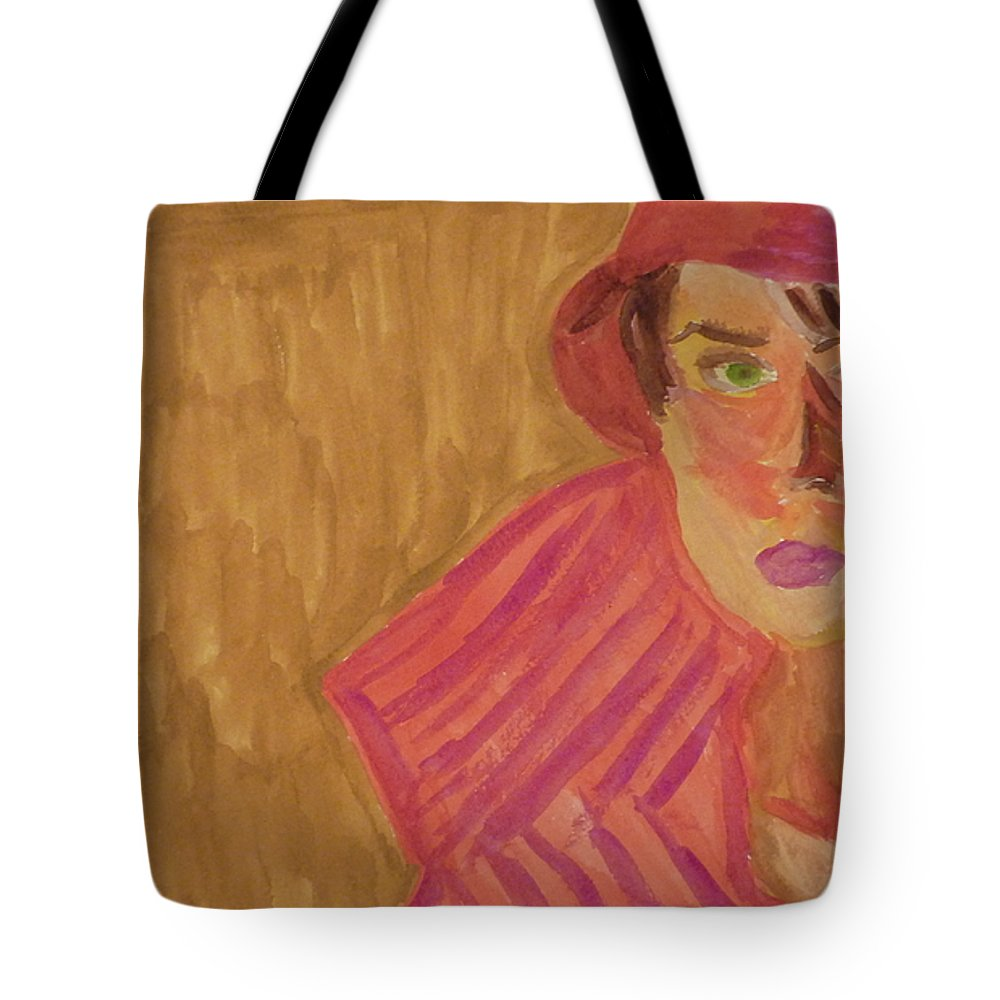 Woman Tote Bag featuring the painting The Woman In Red by Joshua Redman