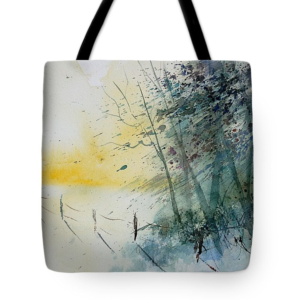 Winter Tote Bag featuring the painting Watercolor 080708 by Pol Ledent