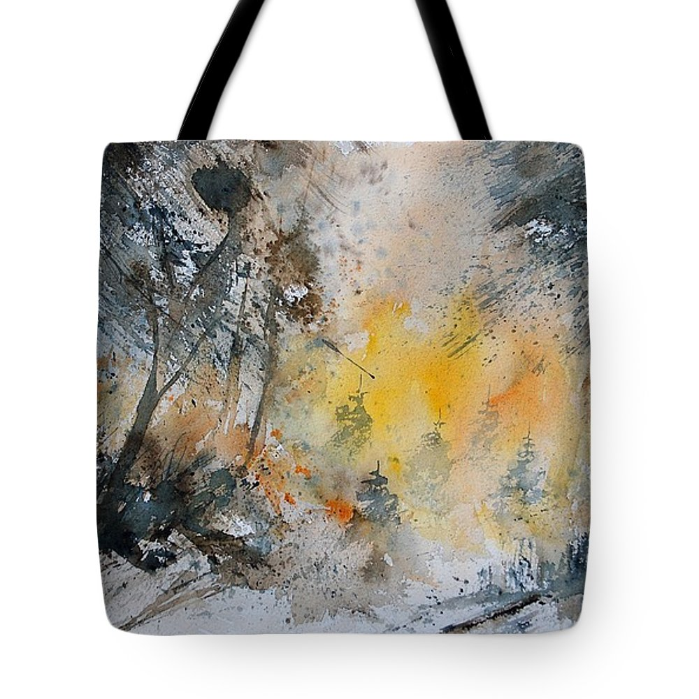 Tree Tote Bag featuring the painting Watercolor 131206 by Pol Ledent