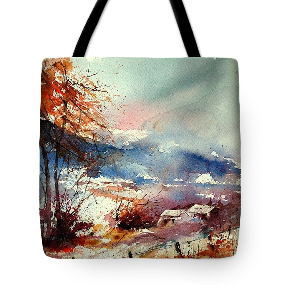Winter Tote Bag featuring the painting Watercolor 221108 by Pol Ledent