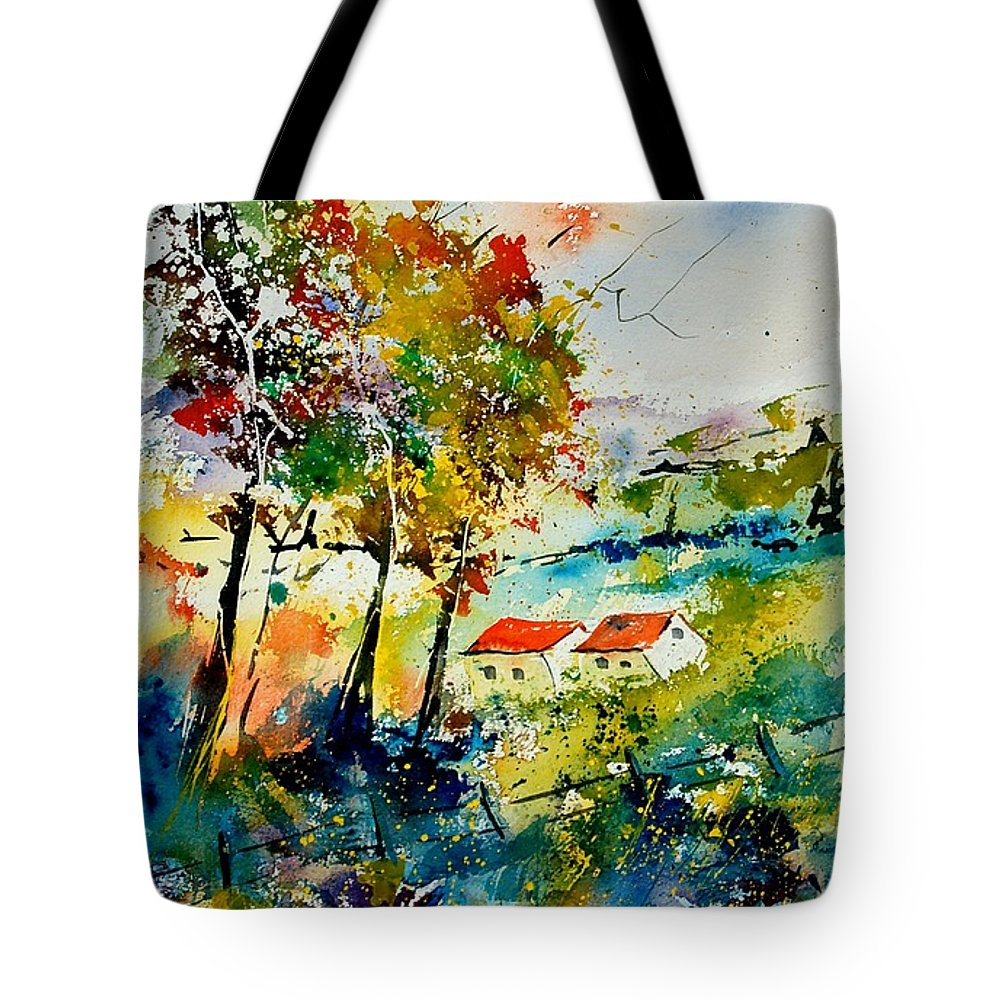 Poppies Tote Bag featuring the painting Watercolor 903001 by Pol Ledent