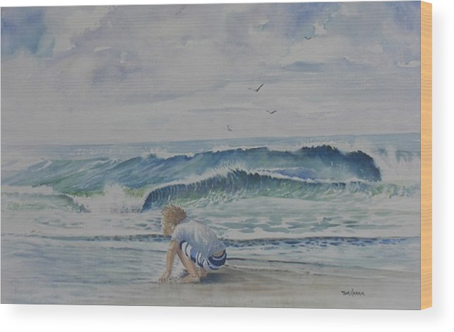 Ocean Wood Print featuring the painting Finding Sand Crabs by Tom Harris