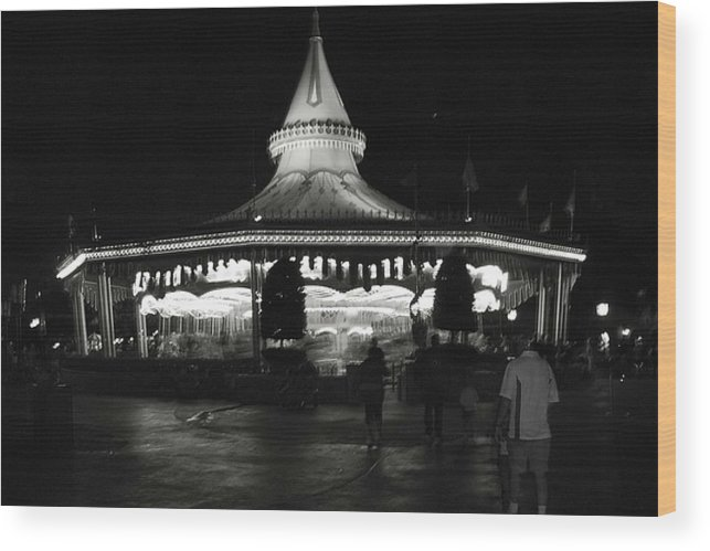 Black And White Wood Print featuring the photograph Carousel by Lindsay Clark