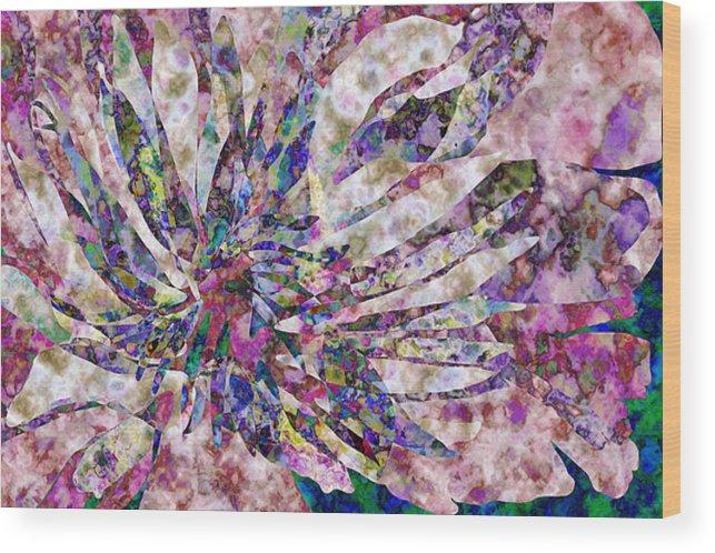 Flower Wood Print featuring the digital art Peony Burst by Gae Helton