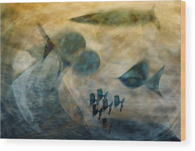 Fish Wood Print featuring the digital art Water World One by Gae Helton