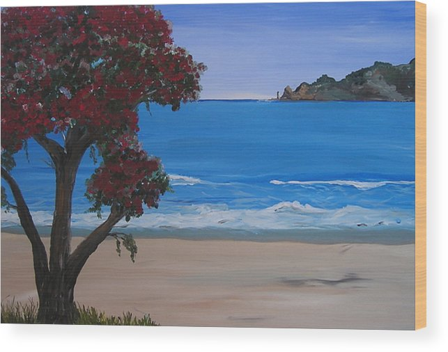 Landscape Seascape Pohutukawa Tree Wood Print featuring the painting A Peaceful Place Revisited by Sher Green