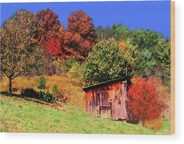 Fall Leaves Wood Print featuring the mixed media Mountain Home Place Back Yard by Garland Johnson