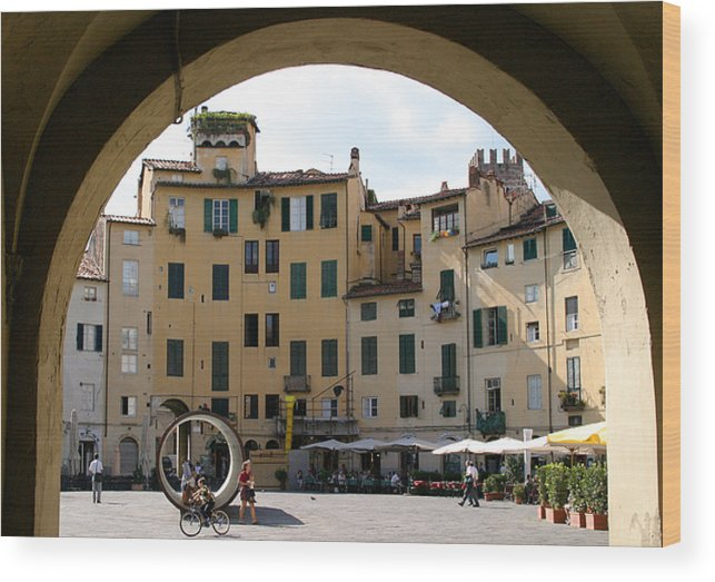 Piazza Wood Print featuring the photograph Piazza Antifeatro Lucca by Mathew Lodge