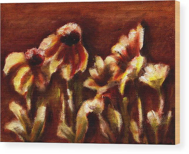 Wood Print featuring the painting Yellow Daisys by Patricia Halstead