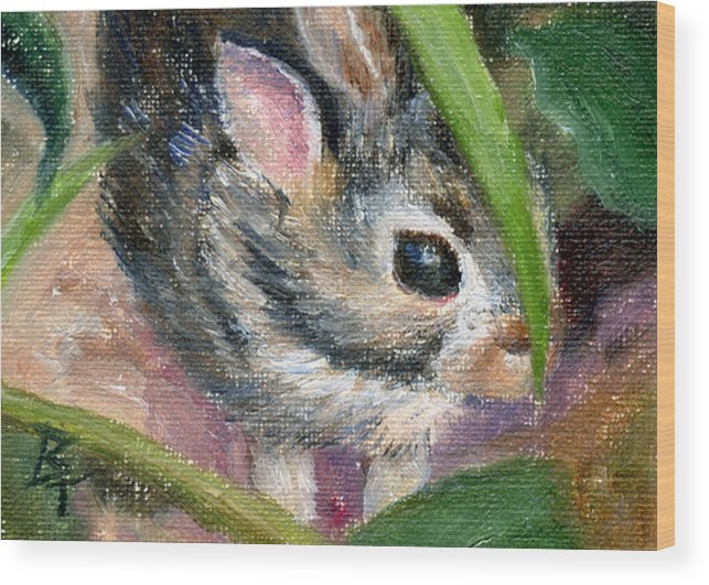 Bunny Wood Print featuring the painting Hiding Aceo by Brenda Thour