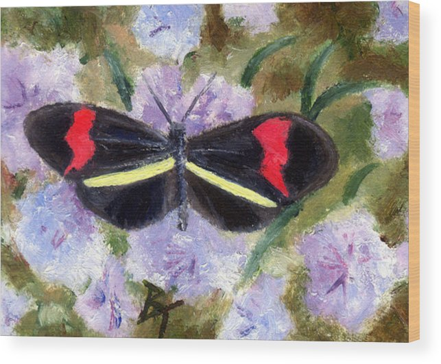 Butterfly Wood Print featuring the painting Butterfly Aceo by Brenda Thour
