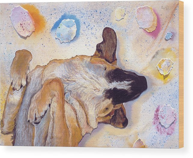 Sleeping Dog Wood Print featuring the painting Dog Dreams by Pat Saunders-White