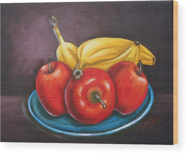Banana Wood Print featuring the painting Platter Of Fruit by Ruth Bares