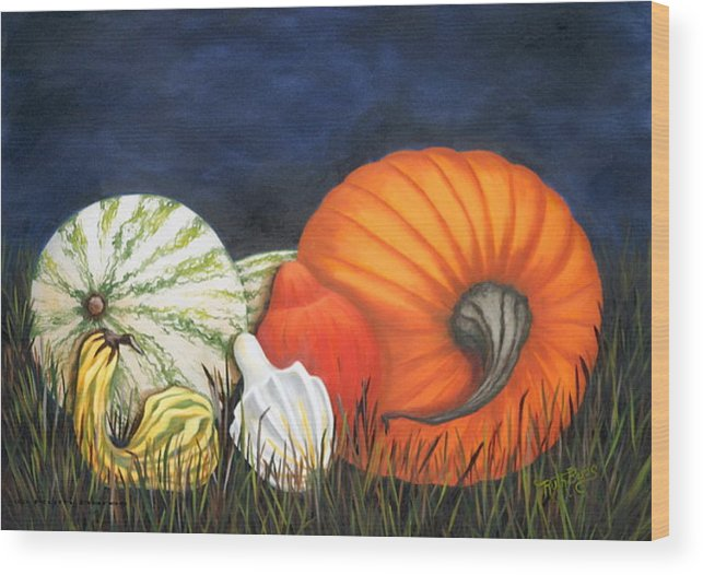 Pumpkin Wood Print featuring the painting Pumpkin And Gourds by Ruth Bares