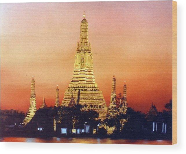 Oil Wood Print featuring the painting Wat Aroon by Chonkhet Phanwichien