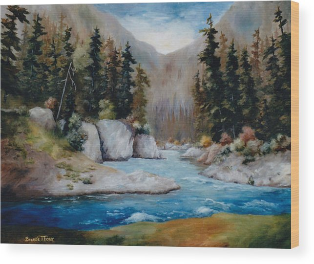 Landscape Wood Print featuring the painting Rushing Waters by Brenda Thour