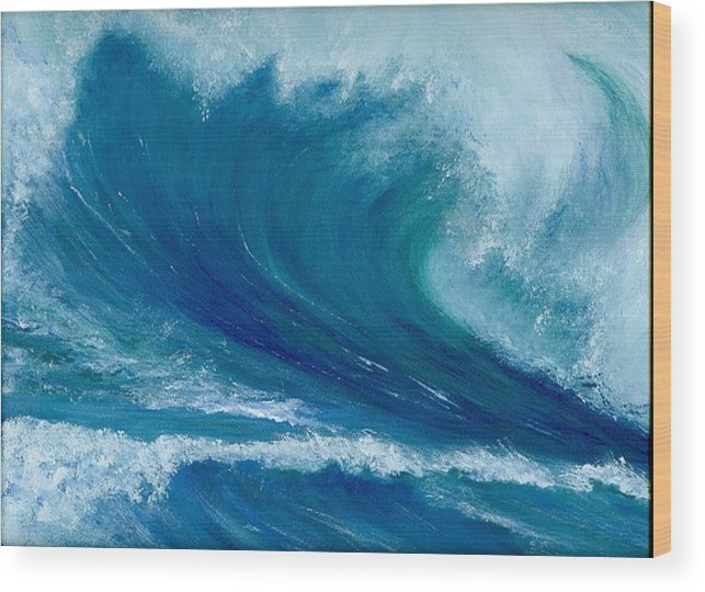 Wave Wood Print featuring the painting Winter Wave by Laura Johnson