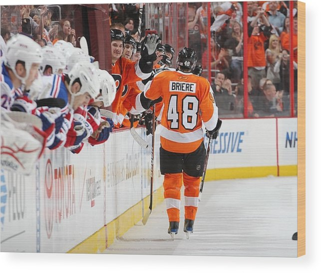 c1d4cb61b40e Playoffs Wood Print featuring the photograph New York Rangers V Philadelphia  Flyers by Len Redkoles