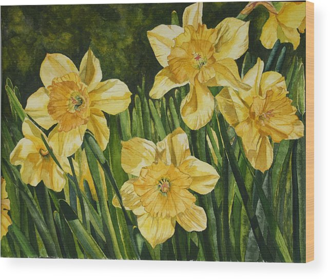 Flower Wood Print featuring the painting Sunshine Kisses by Helen Shideler