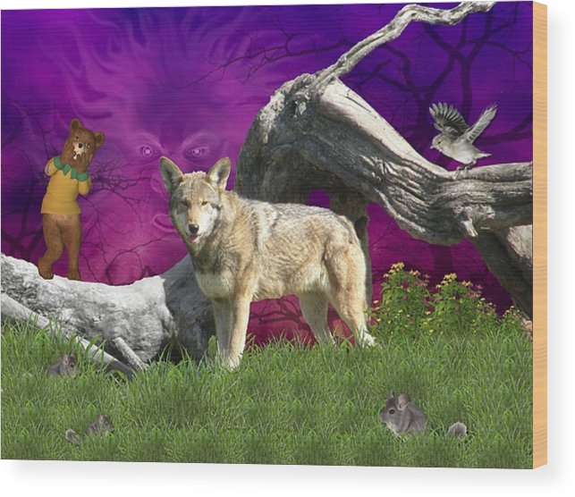 Wolf Wood Print featuring the digital art Ut Oh by Morning Dew