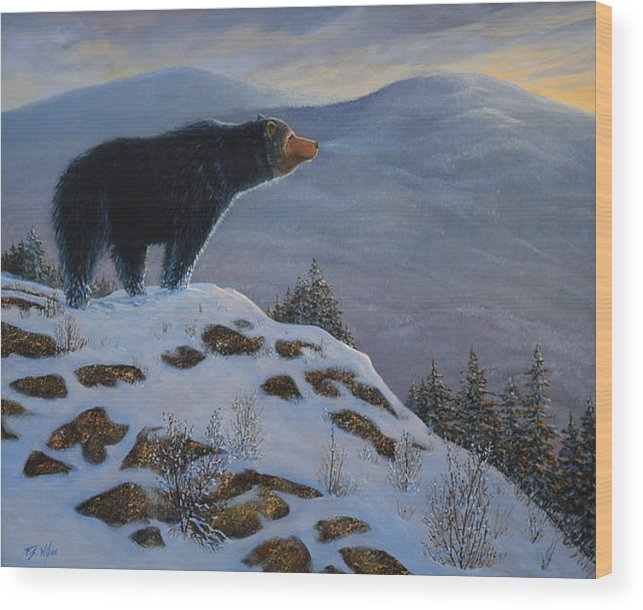 Wildlife Wood Print featuring the painting Last Look Black Bear by Frank Wilson