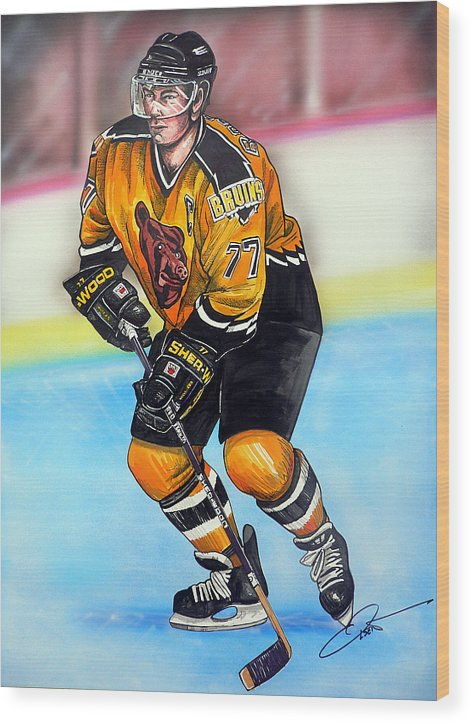 Hockey Wood Print featuring the painting Boston Bruins Ray Bourque by Dave Olsen