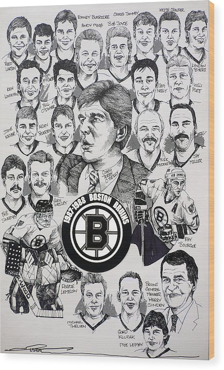Championship Poster Wood Print featuring the drawing 1988 Boston Bruins Newspaper Poster by Dave Olsen