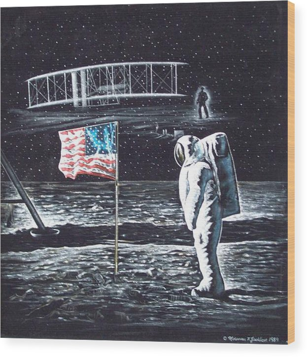 Powered Flight Wood Print featuring the painting If They Only Knew by Norman F Jackson