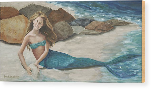 Mermaids Wood Print featuring the painting Krissy by Brenda Ellis Sauro