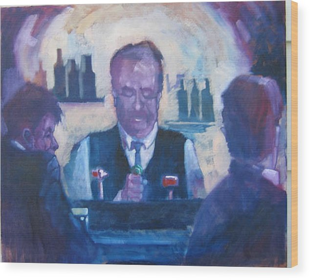 Figure Wood Print featuring the painting The Bartender by Kevin McKrell