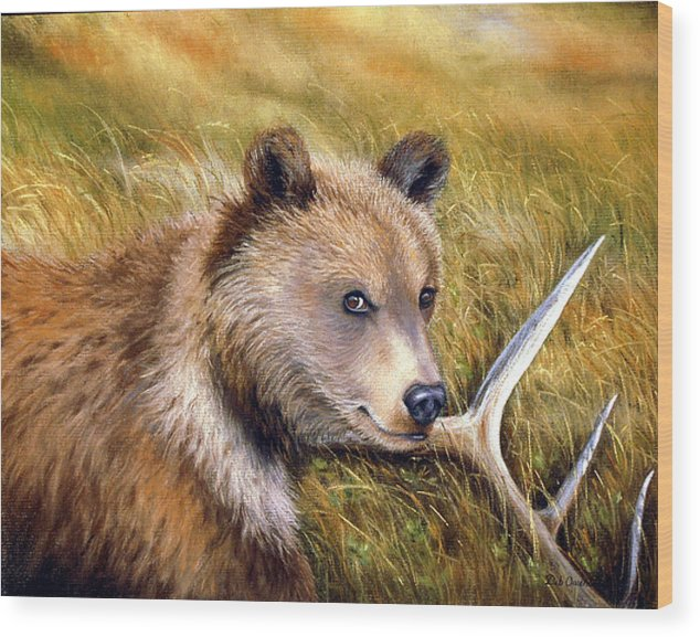 Grizzly Wood Print featuring the painting Watchful Eye by Deb Owens-Lowe