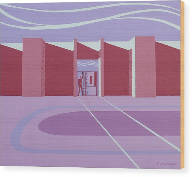 Architectural Wood Print featuring the painting Architectural Le Modulor by James Cordasco