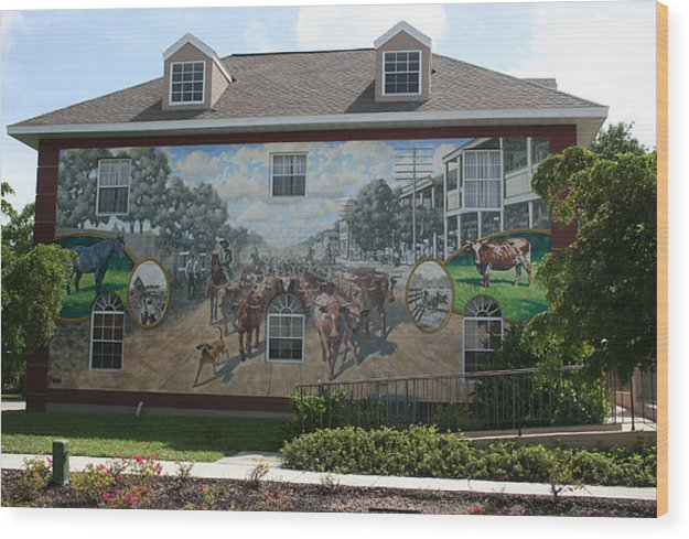 Mural Wood Print featuring the painting Cattle Drive Down Marion Avenue 1903 by Michael Vires