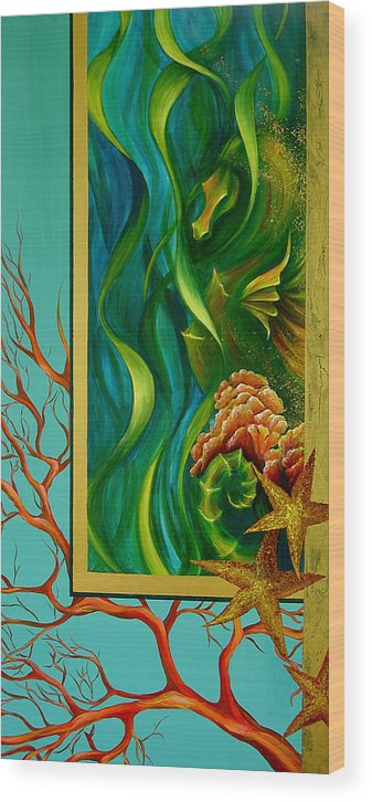 Ocean Sea Seahorse Coral Underwater Starfish Beach Tropical Layered Collage Wood Print featuring the painting Aquatica by Dina Dargo