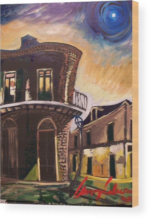 Cityscape Wood Print featuring the painting Royal St Sunrise by Amzie Adams