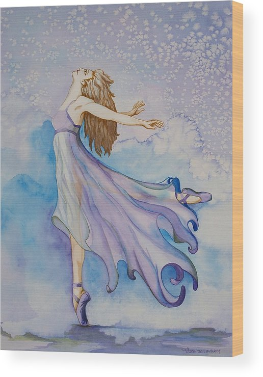 Ballet Dancer Wood Print featuring the painting Ballerina Performs by Joyce Hutchinson