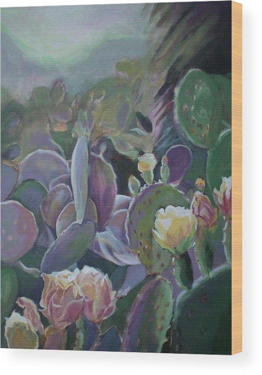 Cactus Wood Print featuring the painting Desert Life by Aleksandra Buha