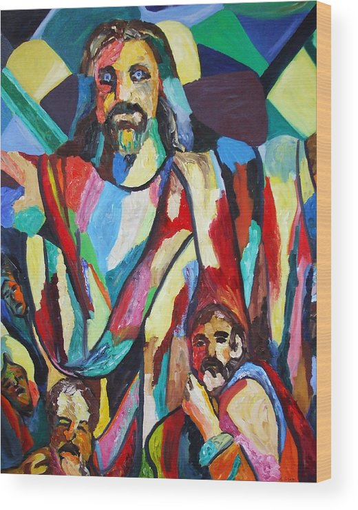 Colors Wood Print featuring the painting He Lives by Angela Green
