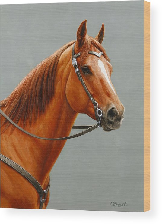 Horse Wood Print featuring the painting Chestnut Dun Horse Painting by Crista Forest