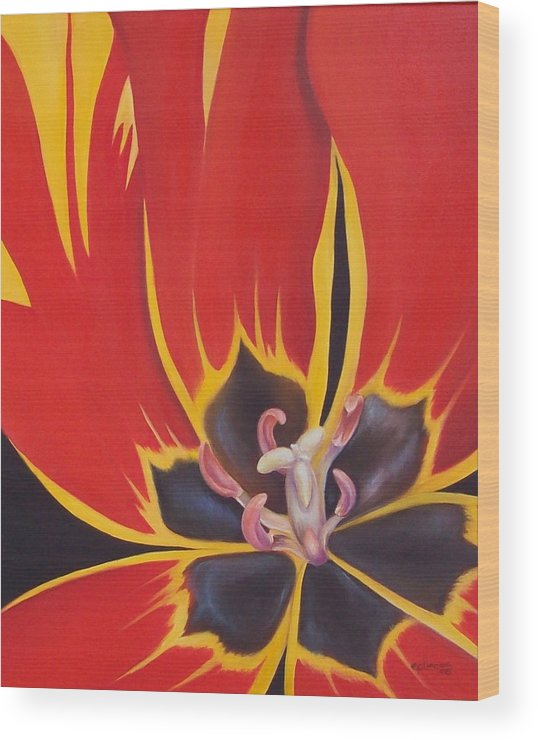 Flowers Wood Print featuring the painting Fier Tulip by Elsa Gallegos