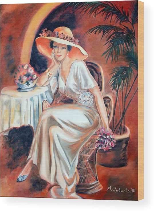Woman Wood Print featuring the painting Patience In Beauty by Margaret Fortunato