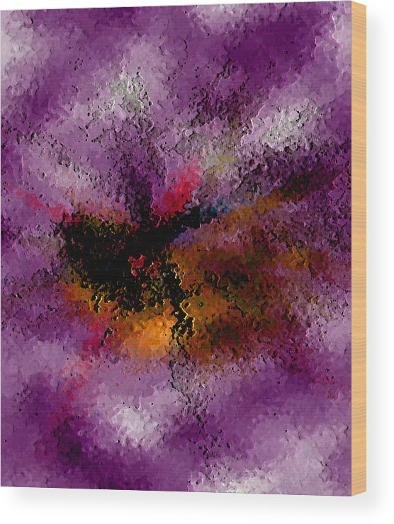 Abstract Wood Print featuring the digital art Damaged But Not Broken by Ruth Palmer
