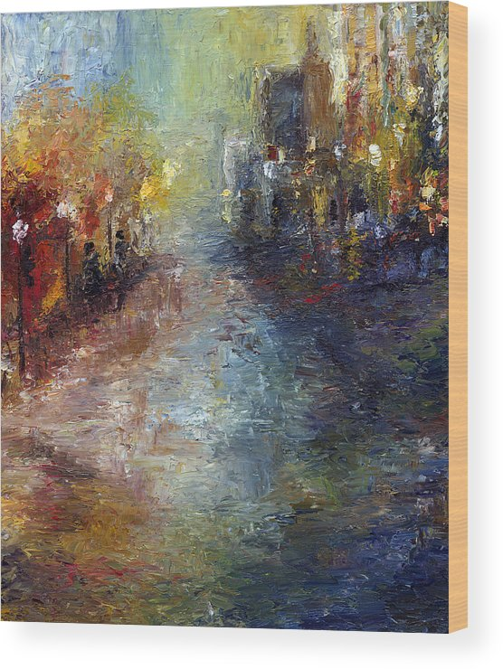 Cityscape Wood Print featuring the painting Fade Into Light by Laura Swink